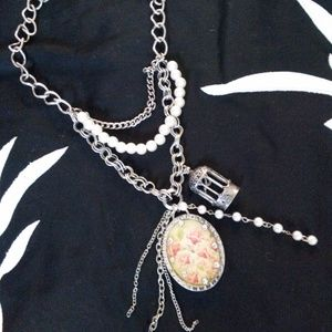 Jewelry - 4/$24 Rose Birdcage Pearl Pendant Layered Necklace